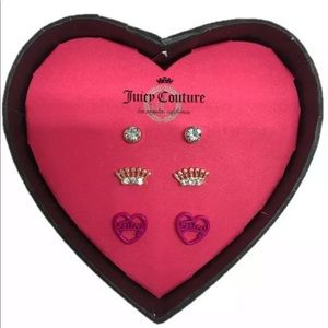 NEW Juicy Couture 3 Pairs Stud  Earring Set